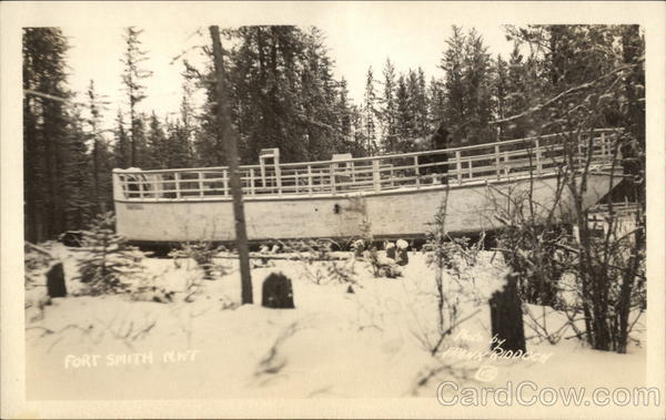 Boat in Drydock in Snow Fort Smith Canada Northwest Territories