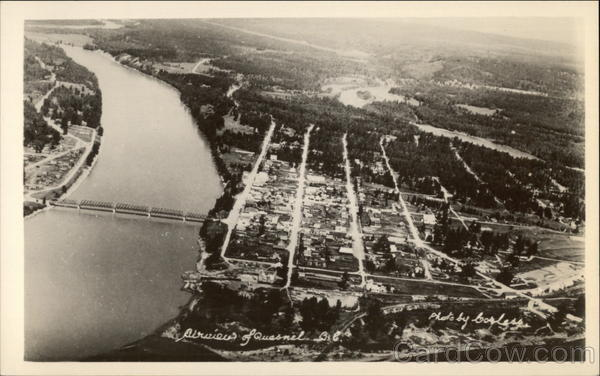 Aerial View of Town Quesnel Canada British Columbia