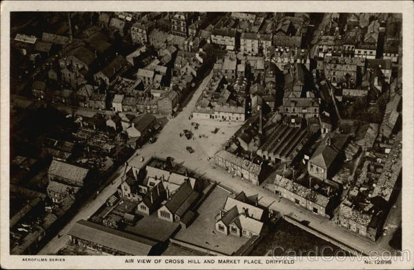 Air View of Cross Hill and Market Place Driffield England