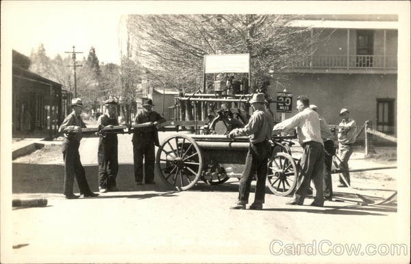 Men on Street with Old Fire Engine, Columbia State Park California