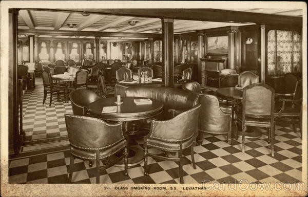 S.S. Leviathan - 2nd Class Smoking Room Interiors