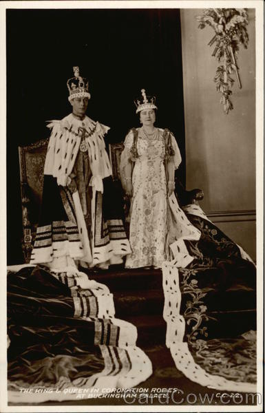 The King & Queen in Coronation Robes at Buckingham Palace London England