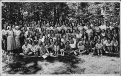 1937 Portrait of Large Group of Women and Girls, Camp? Postcard