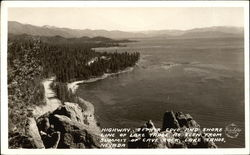 Highway, Zephyr Cove and Shore Line of Lake as Seen From Summit of Cave Rock