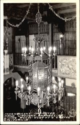 Magnificent Imported Hand Wrought Chandelier, Living Room, Scotty's Castle Postcard