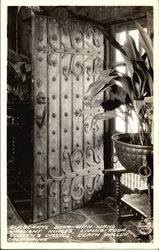 Elaborate Door with Hand Wrought Hinges, Living Room, Scotty's Castle Postcard