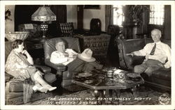 The Johnsons and Scotty in Scotty's Castle Postcard