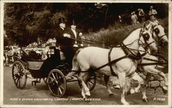 King & Queen Driving to Crathie Church Postcard