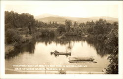 Philippeno Boat on Private Fish Pond & Moosilaukee Mt., Rear of Morse Museum