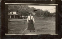 Woman at Tennis Net