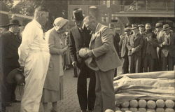 Queen Juliana of Holland at the Cheese Market in Alkmaar