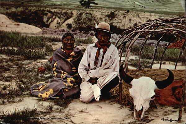Brave Wolf and Wife Beside the Sweat Lodge, 1901 Native Americana