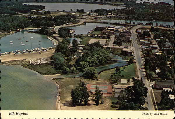 Aerial View of City Elk Rapids Michigan