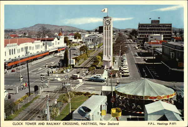 Clock Tower and Railway Crossing Hastings New Zealand