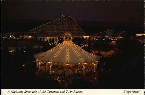 A Nightime Spectacle of the Carrousel and Twin Racers Kings Mills Ohio