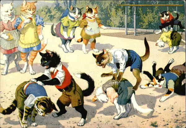 Cats in Clothing at Playground