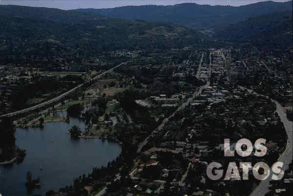 Aerial View of Town and Lake Vasona Los Gatos California