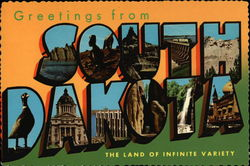 Greetings from South Dakota, The Land of Infinite Variety Postcard