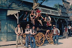 Six Gun Territory - Citizens Pose by Old Stagecoach