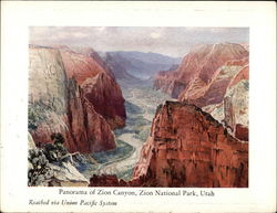 Panorama of Zion Canyon, Zion National Park, Utah - Reached Via Union Pacific System