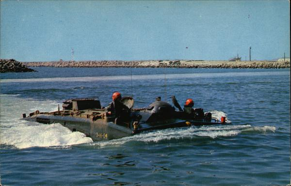An Amphibian Tractor Moves Through the Camp Del Mar Boat Basin Camp Pendleton California