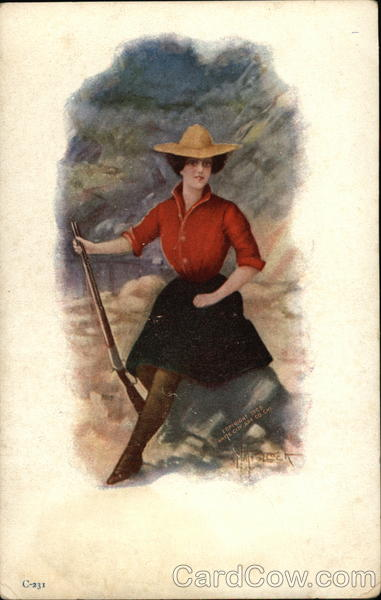 Woman with Rifle Cowboy Western