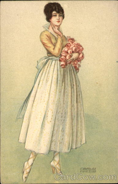 Lady Holding a Bouquet of Flowers Women