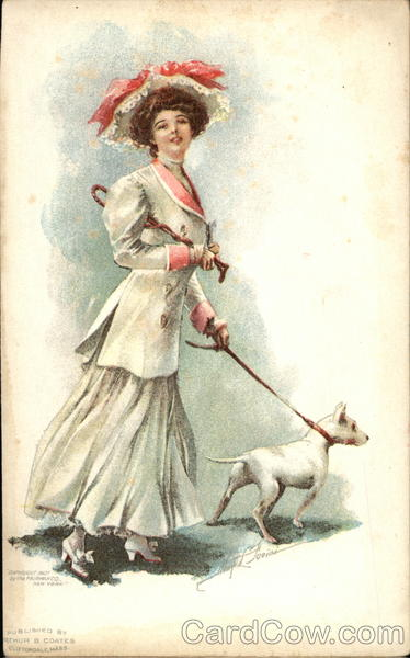 Woman Dressed All in White Walks a White Dog May L. Fariani