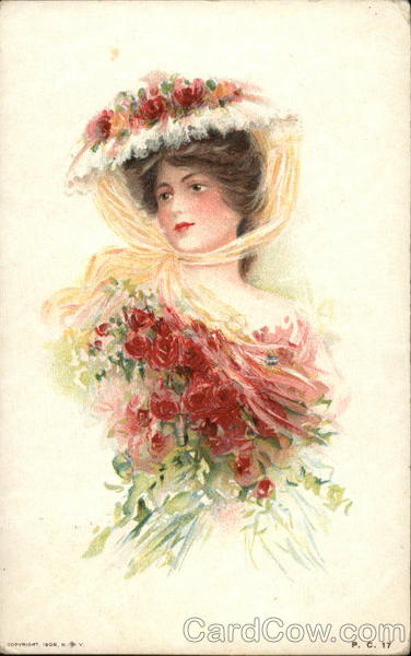 Woman in Pink Flower-Trimmed Hat Holding Bouquet of Roses