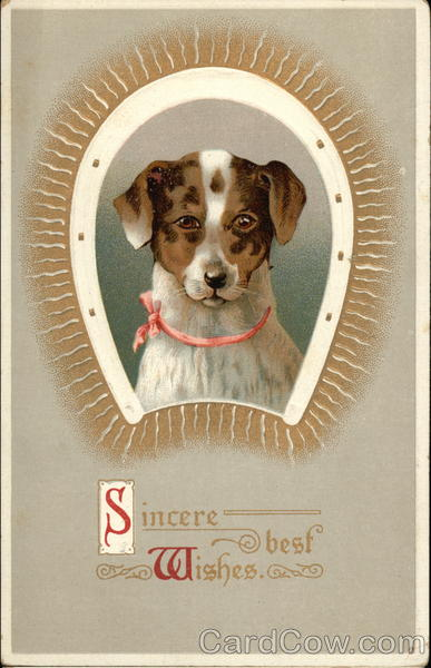 Sincere Best Wishes - Dog ansd Horseshoe Dogs