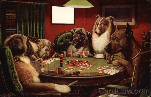Five Dogs At Table Playing Poker