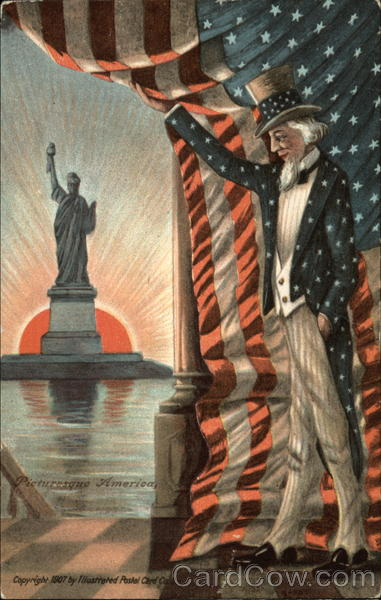 Uncle Sam Looking at the Statue of Liberty Patriotic