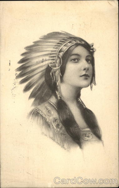 Indian Maiden With Headdress and Ponytails Native Americana