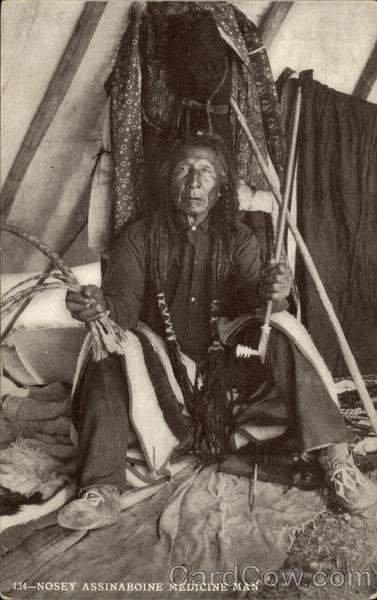 Nosey Assinaboine - Medicine Man Native Americana