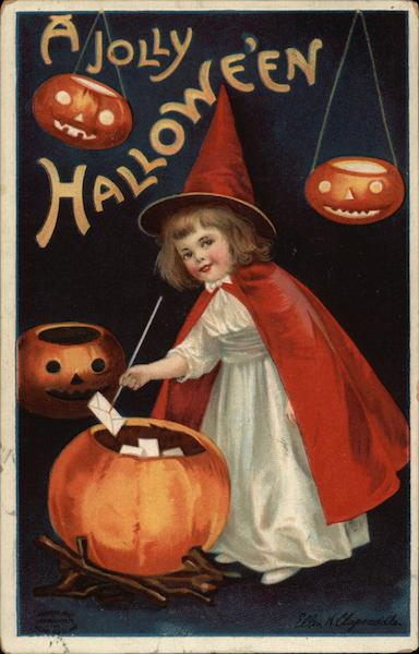 Girl in Witches Costume with Pumpkins Ellen Clapsaddle
