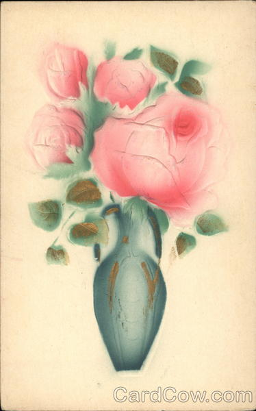 Pink Roses in Blue Vase Flowers Airbrushed