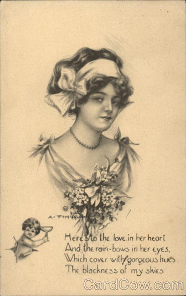 Woman With Flowers and a Cherub Women