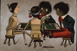 Two Golliwogs Playing Cards With Two Wooden Dolls