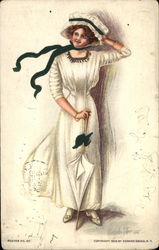 Woman in White Dress and Hat
