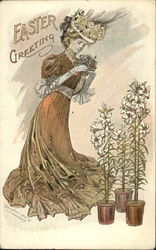 Woman with Pots of Easter Lilies
