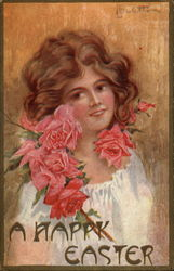 Red Haired Woman with Red Roses