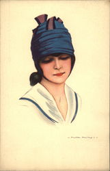Woman in Dark Blue Hat Postcard