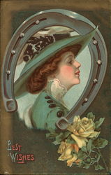Best Wishes - Horseshoe with Woman in Green