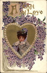 A Gift of Love - Woman with Heart and Violets