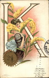 Kentucky State Girl - Seal and State Flower, Golden Rod