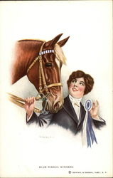 Blue Ribbon Winners - Woman and Horse Postcard