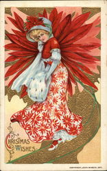 Lady in poinsettia dress Postcard