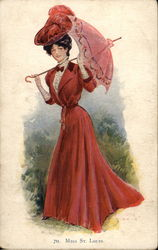 Miss St. Louis - Woman in Red Drees with Parasol
