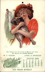 Excelsior Shoe Store Calendar 1910 - Woman Holding Dog