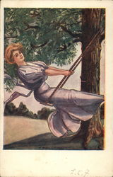 Woman in Mauve Dress on Swing